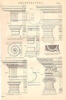 1868 Estampado ~Arquitectura~ Ejemplos De Fortuna Virilis Duchas De Dioclesian