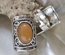 Fingerring mit orange roter Aventurin Stein Ring verstellbar von 18-28 mm
