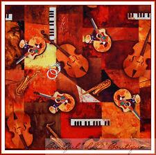 BonEful Fabric FQ Cotton African Bongo Drum Piano Music Jazz Violin Keyboard Art