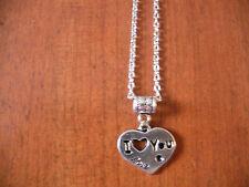 """collier chaine argenté 46,5 cm avec pendentif coeur """"I love you"""" 19x22"""