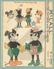 "Reproduction Vintage Mickey & Minnie Mouse 13.5"" & 18"" Doll Sewing Pattern M91"