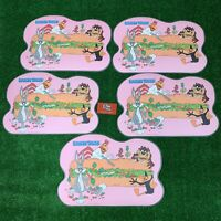 Vintage Warner Bros Looney Tunes French Kids Place Mats Pink 1989 Set of 5