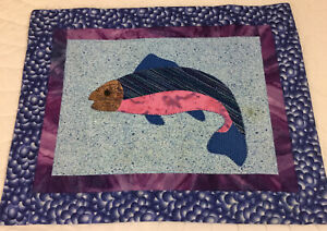 Patchwork & Appliqué Quilt Wall Hanging, Fish, Blue & Pink Calico Prints, As Is