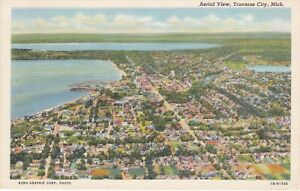 Traverse City, MI - Aerial View of Traverse City and Lakefront Area - 1947