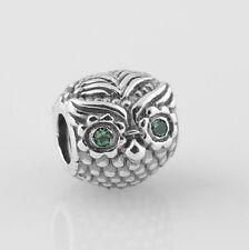 GREEN EYED OWL Sterling Silver European Charm Bead O1