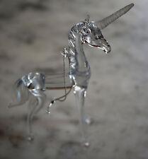 Vintage Handblown Glass Unicorn Figurine Ornament Frosted Horn Fairytale