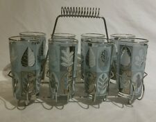 VINTAGE MID CENTURY LIBBEY FROSTED SILVER AND BLUE GLASS SET WITH ORIGINAL RACK