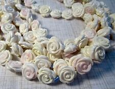 Natural Pink Conch Shell Rose Beads, Carved Flower Beads 16mm , 1 Strand