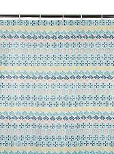 Moroccan Design Tile Aztec Style Floral Blue Duck Egg Shower Curtain 180x180cm