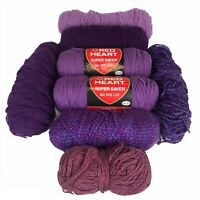 Yarn Mixed Lot 8 Skeins Red Heart Super Saver Misc Dark Light Purples 45oz Total