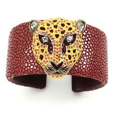 HANDMADE! NATURAL RUBY-TANZANITE 2-TONE 925 SILVER STINGRAY LEATHER TIGER BANGLE