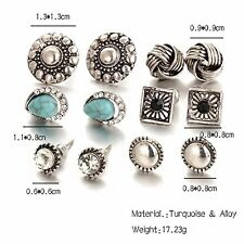 GirlZ! Fashion Romantic Trendy And Stylish Stud Earrings Set of 6 Pairs