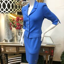St. John Collection Marie Gray Blue 2pc Skirt Suit