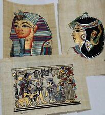 Lot of 3 Egyptian Papyrus, K. Tutankhamen, Q. Cleopatra, 12x16 Cm, Hand Painted_