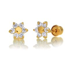 14k Yellow Gold Small Baby Flower Cz Screw Back Earrings