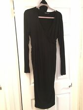 Maternity Comfy Black Long Sleeve Faux Wrap Tie Dress With Ruched Sides Sz XL