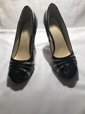 Pair of Black and White Open Toe High Heels Size 8M