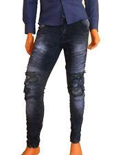 Pantalone jeans uomo slim fit strappato militare mimetico  cotone e6333