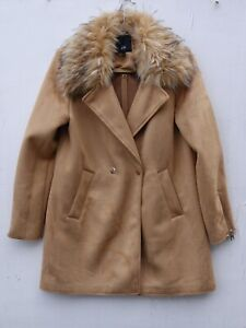 Immaculate RIVER ISLAND Ladies Camel Faux Suede Coat with Faux Fur Collar UK 12
