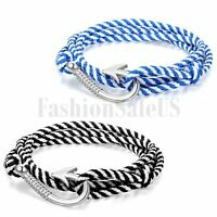 Fashion Unisex Multilayer Twisted Nylon Rope Cord Fish Hook Nautical Bracelet