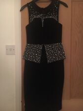 Stunning Dress By Lipsy - Black Peplum With Beadwork - Size 6 - BNWT - RRP £140