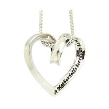 925 Silver Plt 'a Mother Holds Her Childs Hand' Engraved Heart Necklace Mum a