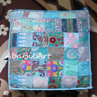 "32"" Blue Large Patchwork Pouf Cover Square Floor Decor Multi Color Cushion Cover"