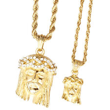 Iced Out Bling Mini Pendant Chain Set - 2 x JESUS gold