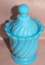 Moutardier pot à moutarde en opaline de foire bleu décor tournant