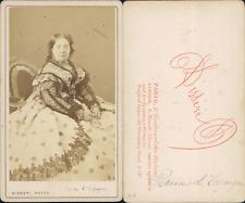 Disdéri, Paris, Reine Isabel II Vintage albumen cdv print. Tirage albuminé