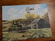 "Antique Buggy, Farm Windmill,  Farm life ""Original"" Oil painting. Mary A. Leach"