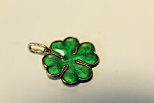Askel Holmsen Norway 925, Green Guilloche 4 Leaf Clover Charm/Pend11/16 X 15/16""