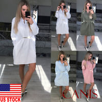 US New Women Solid Long Sleeve Tunic Short Mini Casual Button Down Shirt Dress