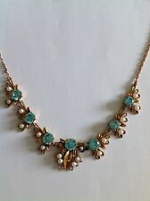 Fine Quality Vintage 9ct Rose Gold Blue Zircon & Seed Pearl Set Necklace