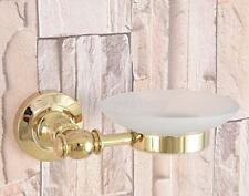 Luxury Gold Brass Bathroom Shower Soap Dish Storage Wall Mount Glass Soap Holder