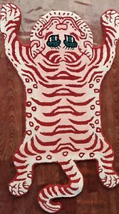 Tibetan Tiger Pink Rug With 100% Woolen, 3x5 feet for Home Décor Living Room