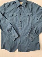 Billy Reid Blue Standard Cut Button Front Dress Shirt Large