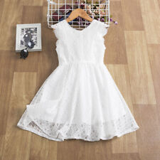 Lace Flower Girl Summer Kids Party Sleeveless White Dress Grils Size 8-9 Years