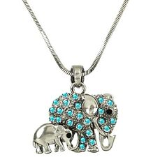 Adorable Blue Elephant Mom and Baby Pendant Necklace Rhodium Plated Gift Boxed