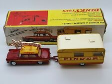 ALL ORIGINAL FRENCH DINKY TOYS 882 PEUGEOT 404 + CIRCUS CARAVAN PINDER 1969