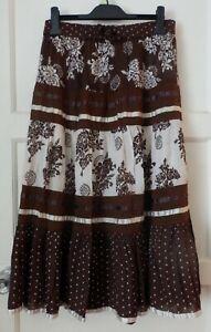 Lovely long boho style brown/cream skirt size M