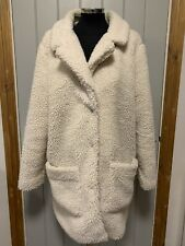 Primark Women's Faux Fur Teddy Bear Coat Warm Winter UK 16 EU 44 Beige Cream