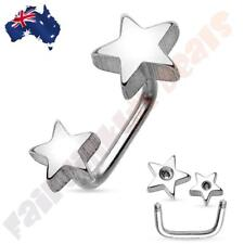 316L Surgical Steel Double Star Silver Ion Plated Lippy Loop/Eyebrow Ring