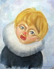 Vintage Original Painting BOY ESKIMO CLOWN