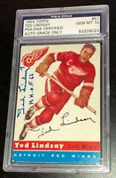 TED LINDSAY SIGNED TOPPS 1954 HOCKEY CARD #51 PSA/DNA AUTHENTICATED GEM MINT 10