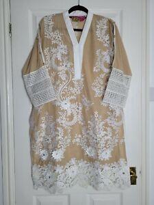 Designer Pakistani Beige Kurta Kameez Jaan Couture by Bubli Malik Size Large 14