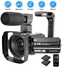 Camcorder 2.7k Videokamera 36mp UHD IR Nachtsicht Digital Camcorder 16x...