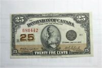1923 Dominion of Canada  25 cents shinplaster banknote money 1/4 dollar