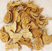 Box 36 Wooden Hanging Easter Decorations Hunt Bunny Hen Eggs Bird Chick Rabbits
