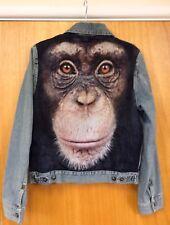 Rivets Veste en jean avec Chimpanzé visage M